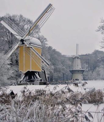 Windmills at Open Air Museum in Arnhem (Gelderland)