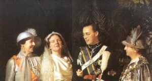 left to right: Queen Wilhelmina, Princess Juliana, Prince Bernhard and Armgard von Cramm (Bernard's mother) on their wedding day 7 January 1937