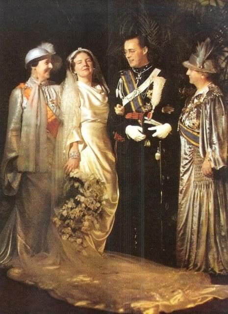 left to right: Queen Wilhelmina, Princess Juliana, Prince Bernhard and Armgard von Cramm (Bernard's mother) on their wedding day 7 January 1937