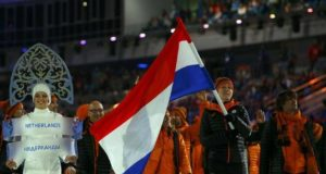 7 February 2014 - Dutch flag-bearer Jorien ter Mors during the opening ceremony of the Sochi Winter Olympics
