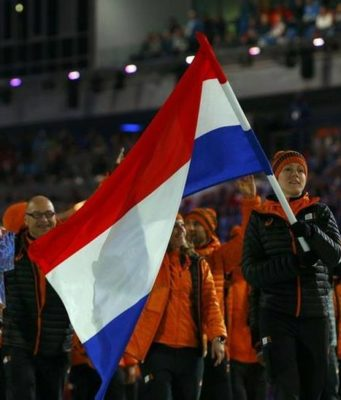 7 February 2014 - Dutch flag-bearer Jorien ter Mors during the opening ceremony of the Sochi Winter Olympics