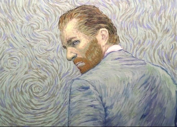 Did you know that Loving Vincent is the world's first fully painted movie? The film was shot with actors and literally painted over frame by frame. A team of 100+ painters spent two years painting 65,000 individual frames on canvas, using the same technniques as Van Gogh.