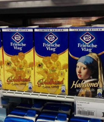 Did you know that dairy brand Friesche Vlag adorned their cartons of coffee creamer with Dutch classic paintings?