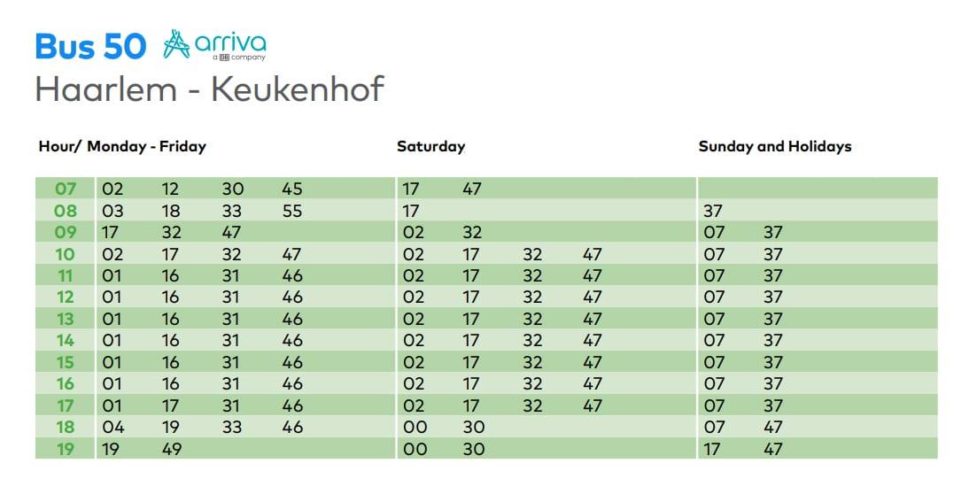 Keukenhof bus 50 from Haarlem to Keukenhof