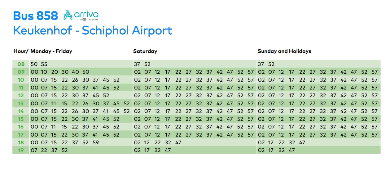 Keukenhof Express back to Schiphol Airport timetable