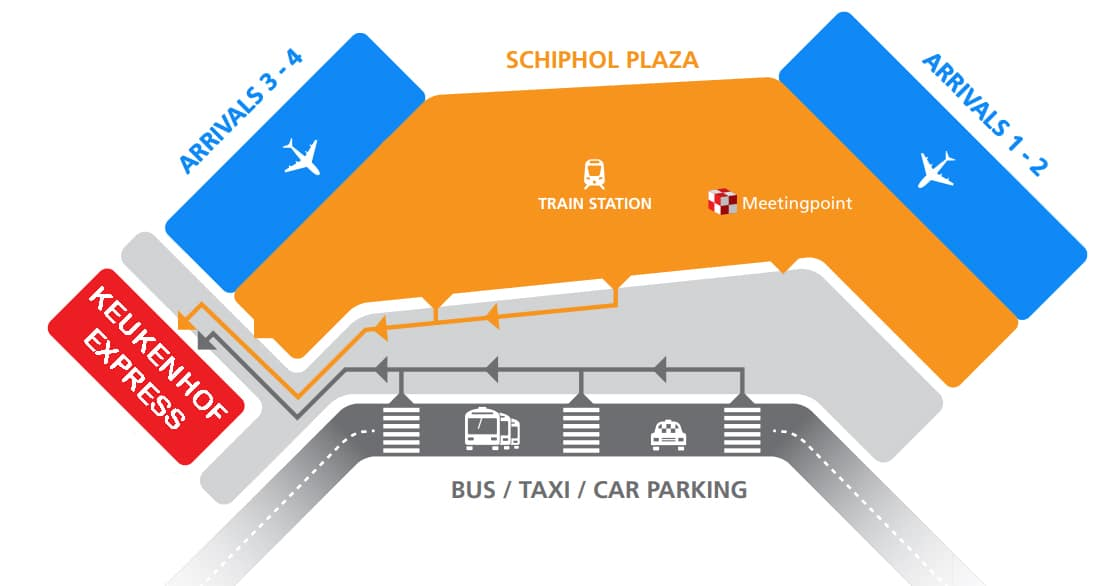 Keukenhof Express Schiphol Airport location bus stop
