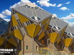 Did you know that the famous cube houses in Rotterdam are tilted at an abnormal angle of 54.7 degrees? The total area of each house is around 100m² but around a quarter of the space is unusable due to the angle of the walls to the ceiling.